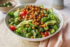 This quick and easy Vegan Caesar Salad is delicious topped with crispy chickpea croutons. The dairy free dressing is a blend of macadamia nuts, extra virgin olive oil, Dijon mustard and garlic. ~ Vegan Caesar Recipe, Egg Free Caesar Recipe ~ #AscensionKitchen  // Pin to your own inspiration board! //
