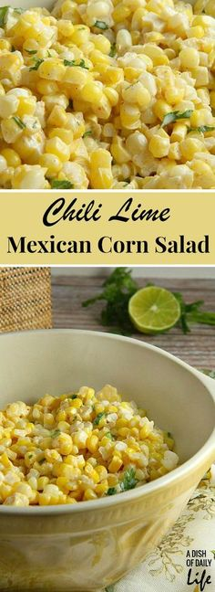 Like Mexican street corn? Turn it into a salad! This easy and delicious 15 minute Chili Lime Mexican Corn Salad is perfect for game day or tailgating! Great for Mexican night too!