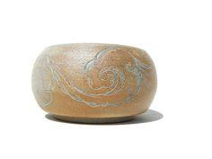 Yunomi teabowl white stoneware carved flowered branch tree