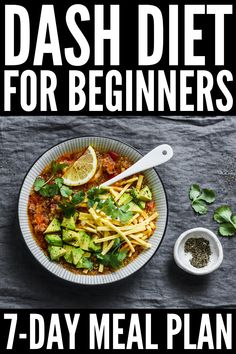 Designed to lower your blood pressure, this DASH Diet for weight loss includes yummy mix and match recipes and snacks you'll love! Dash Diet Meal Plan, Dash Diet Recipes, 7 Day Meal Plan, Ketogenic Diet Meal Plan, Healthy Diet Plans, Diet Meal Plans, Ketogenic Recipes, Healthy Foods To Eat, Healthy Recipes