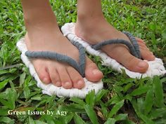 Recycled t-shirt sandals.    Creative upcycle and downcycle ideas | Recycled Crafts | CraftGossip.com