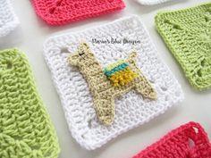 Crochet Llama Granny Square - Free Crochet pattern - Maria's Blue Crayon