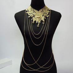Lace Flower Collares Gold Body Chains Statement Necklace Women Hollow Out Gothic Necklace Multilayer Punk Party Jewelry
