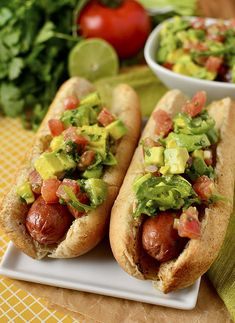 Chilean Style Hot Dogs with Avocado Chili Relish - Ronnie would love this!