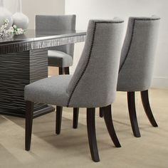Dominic Grey Curved Nailhead Upholstered Dining Chair Set Of 2