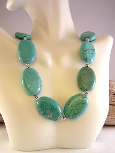 Turquoise Statement Necklace, Turquoise Necklace, Stone Bead Necklace