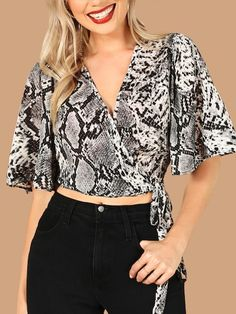 SHEIN offers Flounce Sleeve Snakeskin Wrap Knotted Crop Top & more to fit your fashionable needs. Dressy Tops, Summer Shirts, Pulls, Types Of Sleeves, Snake Skin, Blouses For Women, Women's Blouses, Fashion News, Georgia