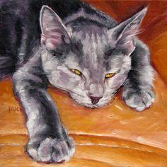"Comfy Custom Cat, custom Pet Portrait Oil Painting by puci, 8x8"""