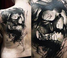 Creepy Skull tattoo by Timur Lysenko