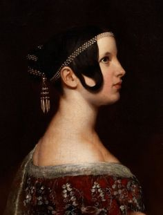 """missfolly: """" Portrait of a Lady with Pearls (detail), by Ary Scheffer """" Auburn, Tudor, Thomas Couture, Renaissance, Pixie, Pastel Photography, Flapper, Academic Art, Miguel Angel"""