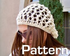 Slouchy Hat Pattern Knitted Hat Pattern Fishnet Hat by natalya1905, $5.00