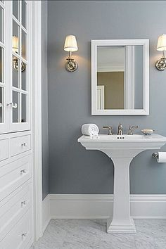 A mix of gray and white is not a bad theme for a #bathroom. What do you guys think? www.budgetbathandkitchen.com
