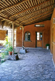 Office Building Courtyard Portal - built from cob / strawbale / adobe / clay plaster by The Canelo Project | www.caneloproject.com