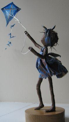 Flyer  fille avec aile de kite.  Fait sur commande