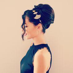 Headband/collier doré et noir éventails à vagues japonaises