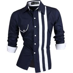 Jeansian Mens Race Stylish Shirt Casual Dress Fashion Tops 2 Colors 5 Sizes Z021 #Jeansian #ButtonFront