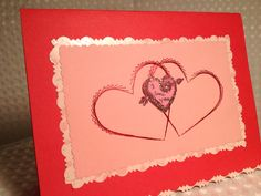 Stitched hearts valentines day card