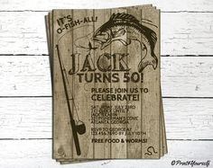 Personalized Brown O-Fish-All Birthday Invitation. rustic,wooden,fishing,o-fish-all,50th birthday,fishing rod,fish,wood,customized,printable