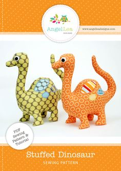 fairytle frocks and lollipops :: angel lea designs, anthea christian, dionsaur softie, dino, stuffed toy, softie, stuffed animal, baby, toy, nursery, playtime, toddler, sewing, instant, e-pattern, downloadable, pdf, e-book, tutorial