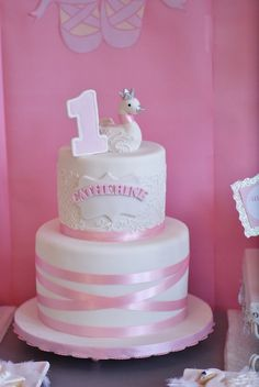 Cake from a Swan Lake Ballerina Birthday Party via Kara's Party Ideas KarasPartyIdeas.com (11)