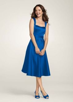 Amazon.com: David's Bridal Bridesmaid Dresses Style Satin Wide Strap Tea Length Dress Style F14556: Clothing