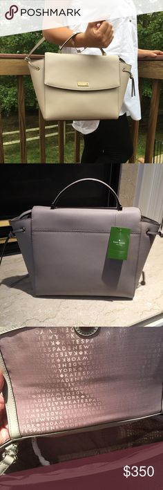 """NWT Kate Spade Satchel Brand New Kate Spade Satchel in saffiano leather. Comes with removable adjustable strap can be worn as a Crossbody.   One inside zipped pocket and two open pocket. Measurements 10"""" bottom 12"""" top X 9"""" X 4.5""""   The color changes depending on lighting kate spade Bags Satchels"""