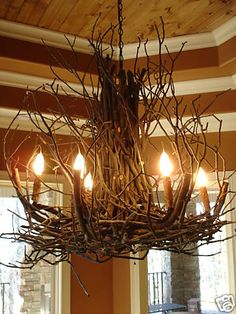 DEANNA WISH Designs Branchelier Rustic Twig Branch Light Custom Chandelier-How creative!