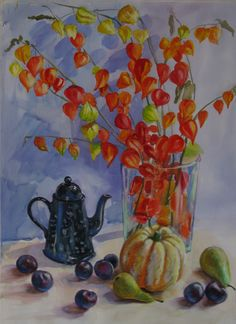 Still Life with Chinese Lantern Flowers by SoniaBacchusArt on Etsy