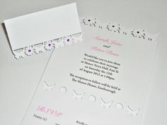 Butterfly and Flower Laser Cut Wedding by sweetpeadesignUK on Etsy, Laser Cut Wedding Invitations, Table Cards, Laser Cutting, Rsvp, Place Cards, Reception, Marriage, Butterfly, Place Card Holders