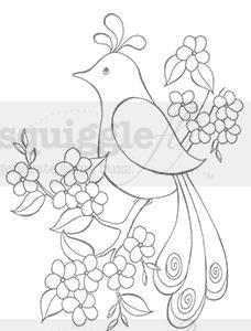 "Squigglefly.com Digital Stamps - ""Pretty Bird"" digi stamp by Diana Garrison"