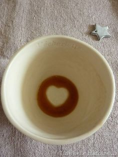 French pottery coffee bowl. Love heart on the base of bowl. How cute?