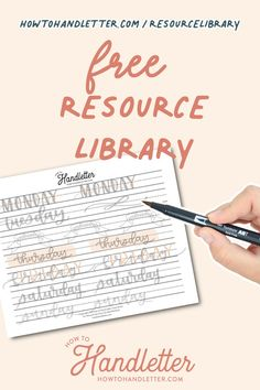 Here, you will find printable resources for your handlettering and creative journaling ventures! Created by Suzy Grace of How to Handletter #handletteringtips #handlettering #printables #handletteringworksheets #freeprintablesforhandlettering Calligraphy For Beginners, Calligraphy Tutorial, Lettering Tutorial, Lettering Styles, Brush Lettering, Hand Lettering, Tombow Brush Pen, Library Signs, Handwritten Letters