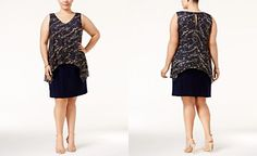 SL Fashions Plus Size Metallic Popover Dress