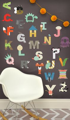 Interactive Alphabet  - WALL DECAL for Kids Room via Etsy - under $60