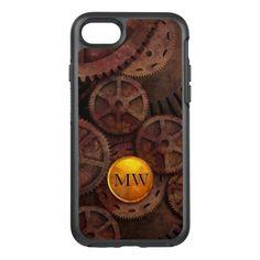 Metallic Rusty Gears Brass Gold Steampunk Monogram OtterBox Symmetry iPhone 7 Case