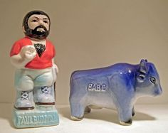 Vintage Paul Bunyan  & Babe The Blue Ox Salt & Pepper Shakers Japan