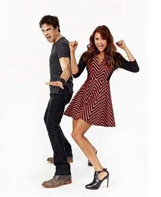 Damon and Elena  What's so funny?
