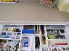 Kitchen Junk Drawer - again drawer dividers make a difference.