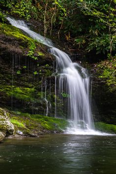 A beautiful small waterfall coming off a hillside in the Smokey..