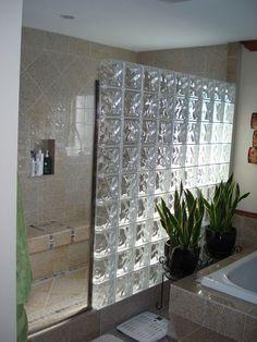 Ideas Doorless Shower Remodel Glass Blocks For 2019 Glass Bathroom, Bathroom Renos, Small Bathroom, Condo Bathroom, Master Bathroom, Shower Remodel, Bath Remodel, Glass Blocks Wall, Block Wall
