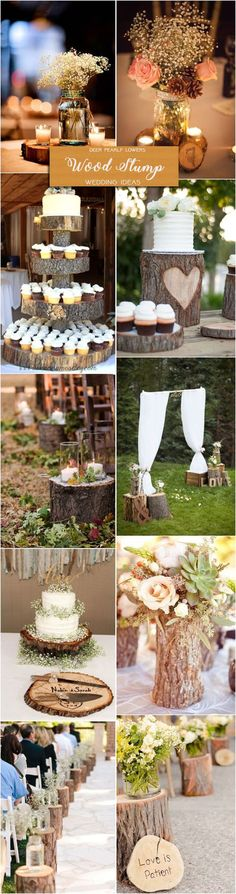 Country rustic tree stump wedding decor ideas / http://www.deerpearlflowers.com/rustic-wedding-themes-ideas/2/
