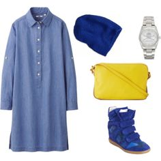 """blue and yellow"" by noanyedges on Polyvore"