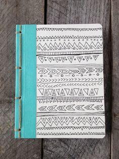 OOAK- Original Hand Drawing- Tribal Doodle- Pocket Journal with Navajo Binding. $18.00, via Etsy.