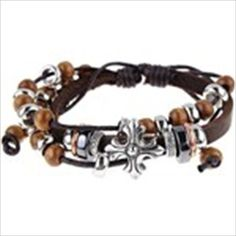 Wooden Pearl Style PU Leather Linen Hand Chain Bracelet Wrist Ornament Jewelry for Female Woman