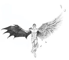 Nephilis are perfect, Tattoo Design Drawings, Tattoo Sketches, Art Sketches, Art Drawings, Evil Tattoos, Body Art Tattoos, Sleeve Tattoos, Skull Tattoos, Wing Tattoos