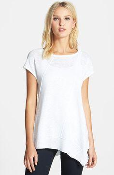 Eileen Fisher Cap Sleeve Organic Linen & Cotton Scoop Neck Top (Regular & Petite)   Nordstrom