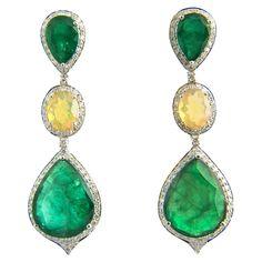Red Carpet Style Long Emerald Opal Diamond Gold Earrings | From a unique collection of vintage drop earrings at https://www.1stdibs.com/jewelry/earrings/drop-earrings/