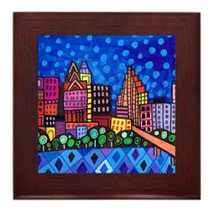 60% OFF- Austin Art Framed Ceramic Tile Print of Painting Folk Art Ready to Hang, Signed Colorful Abstract (HG142)