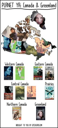 Read your way across Planet YA: Canada & Greenland - by Epic Reads I know there's one for the States, too. Travel the world with YA books. Ya Books, Library Books, Great Books, Books To Read, Library Ideas, Book Suggestions, Book Recommendations, Book Lists, Reading Lists