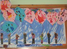 ...Το Νηπιαγωγείο μ' αρέσει πιο πολύ.: Το χαρταετό στο χέρι μου κρατώ και μαζί του περήφανα πετώ.!!!( Σύνδεση με τα βήματα για τη ζωή). Kites Craft, Carnival Crafts, School Stuff, Art For Kids, Preschool, Frame, How To Make, Blog, Painting